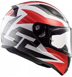 Casco moto integrale LS2 RAPID GRID FF353 Bianco Rosso Nero